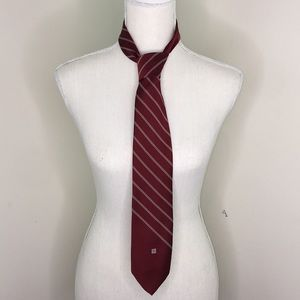 Givenchy Maroon & White Stripe Tie